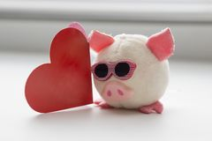A pig with glasses. soft toy, red heart. Chinese New Year royalty free stock photos
