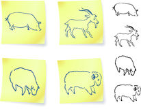 Pig, goat, ram and sheep  on post it notes Royalty Free Stock Photos