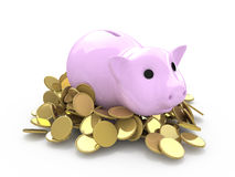 Pig in gold coins Royalty Free Stock Photo