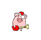 Pig with guitar. Piggy is playing guitar on Christmas Royalty Free Stock Image