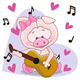 Pig with guitar Stock Photography
