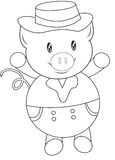 Pig with a hat coloring page Stock Image
