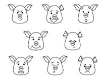 Pig head with different emotions, meme, icon. Single, vector images. Black outline. Symbol of new year 2019 Royalty Free Stock Photography