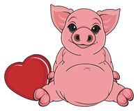 Pig with heart Stock Photo