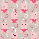 Pig with heart seamless pattern Royalty Free Stock Image