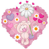 Pig with hearts and flower Stock Photos