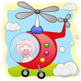 Pig in helicopter Stock Image