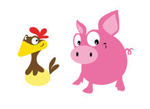 Pig and hen Stock Photo