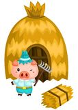 A pig and his house that`s made from a straw. Pig and his house that`s made from a straw vector illustration
