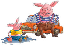 Pig and hog dirty. The pig sits in a pool, hog by to red machine.They dirty Royalty Free Stock Photo
