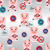 Pig hold Non Halal seamless pattern. This illustration is protection Islamic Muslim avoid the pork foods with Pig symbol holding Non Halal sign in seamless Stock Images