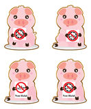 Pig hold Non Halal sticker set. This illustration is protection Islamic Muslim avoid the pork foods Non Halal with pig symbol and holding sign in sticker set stock illustration