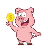 Pig holding gold coin. Clipart picture of a pig cartoon character holding gold coin vector illustration