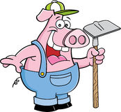 Pig holding a hoe Stock Image