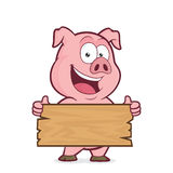 Pig holding a plank of wood. Clipart picture of a pig cartoon character holding a plank of wood Royalty Free Stock Photo