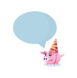 Pig in holiday hat with massage area for your text Stock Photo
