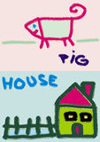 Pig and house  Royalty Free Stock Photography