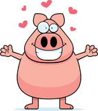Pig Hug. A happy cartoon pig ready to give a hug stock illustration