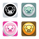 Pig Icon. In 4 different style Stock Photos