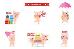 Pig icon character royalty free illustration