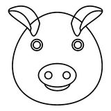 Pig icon, outline style Stock Photos
