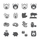 Pig icon set stock illustration