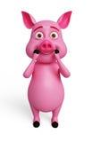 Pig illustration with shocking pose. 3d Pig illustration with shocking pose Stock Image