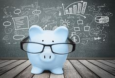 Pig. Intelligence Glasses Tax Home Finances Finance Family Stock Photography