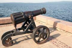 Pig-iron gun on Lake Onega Royalty Free Stock Image
