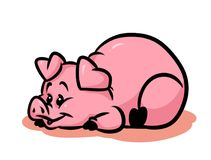 Pig joy cartoon illustration Stock Photo