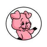 Pig joy emblem cartoon Royalty Free Stock Photos
