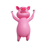 Pig is jumping. 3D Pink Pig is jumping with happy Royalty Free Stock Images