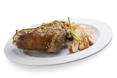 Pig knee with cabbage. Snack to beer royalty free stock photos