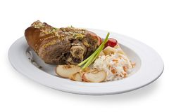 Pig knee with cabbage. Snack to beer royalty free stock photo
