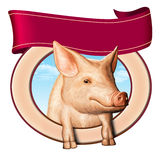 Pig label. Cute pig in a food label, copyspace to insert you own text on top. Digital illustration Stock Photos