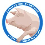Pig label, blue Stock Photos