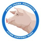 Pig label, blue Royalty Free Stock Image