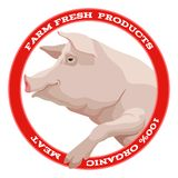 Pig label, red Stock Photography