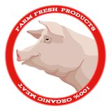 Pig label, red Royalty Free Stock Photos