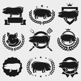 Pig labels and elements set. Vector. Silhouette, beef Stock Photos