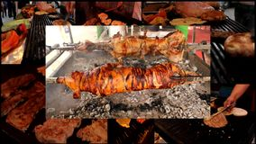 Pig lamb Meat grill burgers  multi screen stock footage