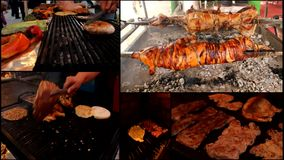 Pig lamb Meat grill burgers  multi screen stock video