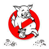 Pig line icon in prohibition red circle, No littering ban sign, forbidden symbol. Vector illustration Stock Images