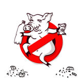 Pig line icon in prohibition red circle, No littering ban sign, forbidden symbol. Royalty Free Stock Photography