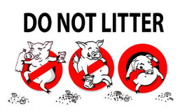Pig line icon in prohibition red circle, No littering ban sign, forbidden symbol. Vector illustration Royalty Free Stock Photography