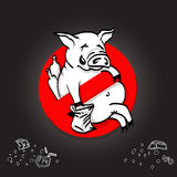 Pig line icon in prohibition red circle, No littering ban sign, forbidden symbol. Vector illustration Stock Photography