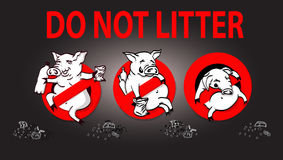 Pig line icon in prohibition red circle, No littering ban sign, forbidden symbol. Royalty Free Stock Photo