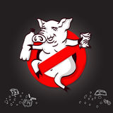 Pig line icon in prohibition red circle, No littering ban sign, forbidden symbol. Stock Images