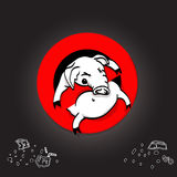 Pig line icon in prohibition red circle, No littering ban sign, forbidden symbol. Vector illustration Stock Photos