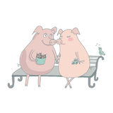 Pig lovers sitting on the bench. Love r Royalty Free Stock Photography